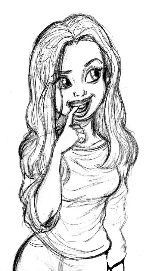 Shy Girl By Tombancroft On Deviantart Girl Drawing Cartoon