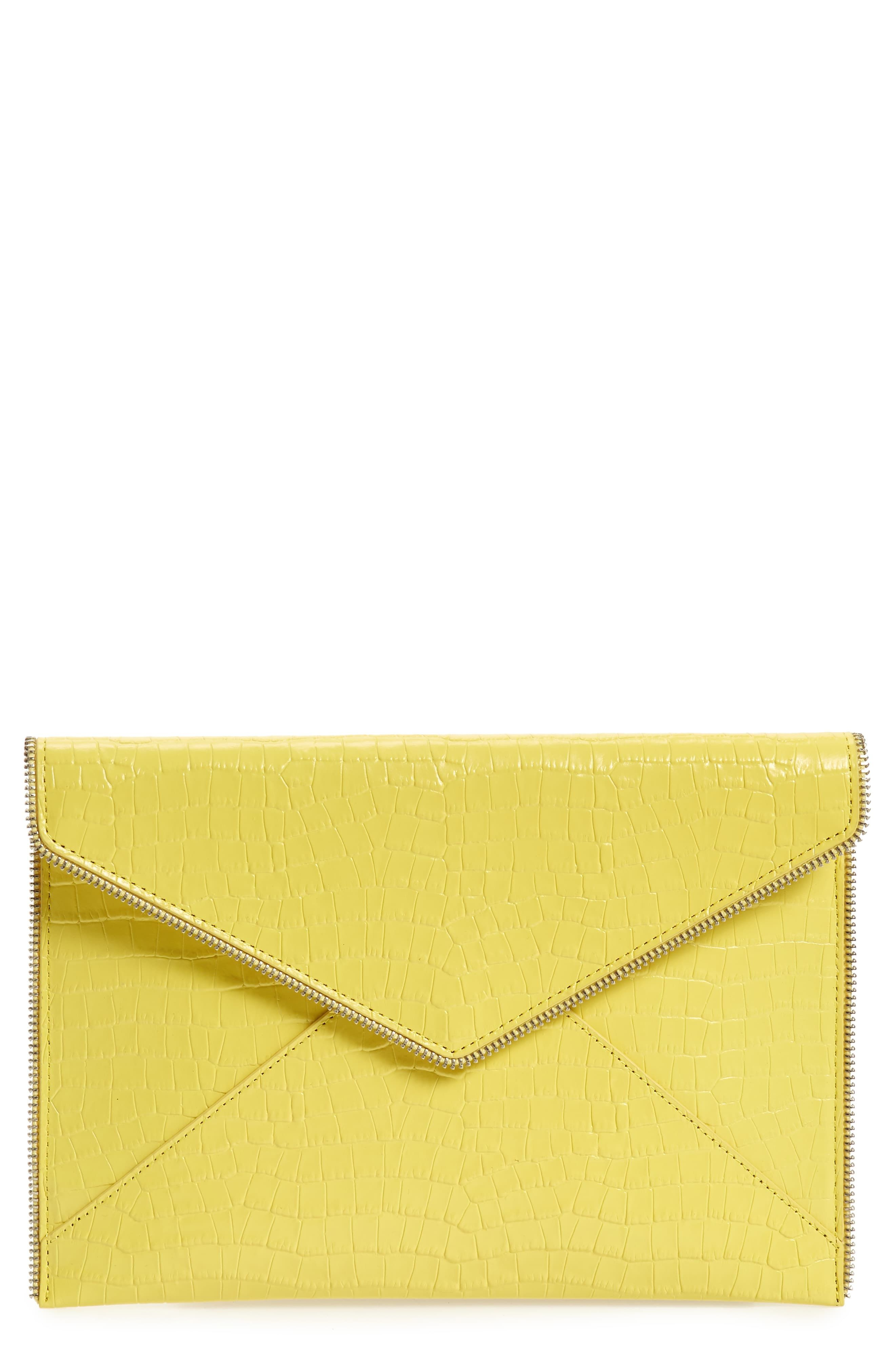 Rebecca Minkoff Leo Croc Embossed Leather Envelope Clutch Envelope Clutch Best Leather Wallet Rebecca Minkoff