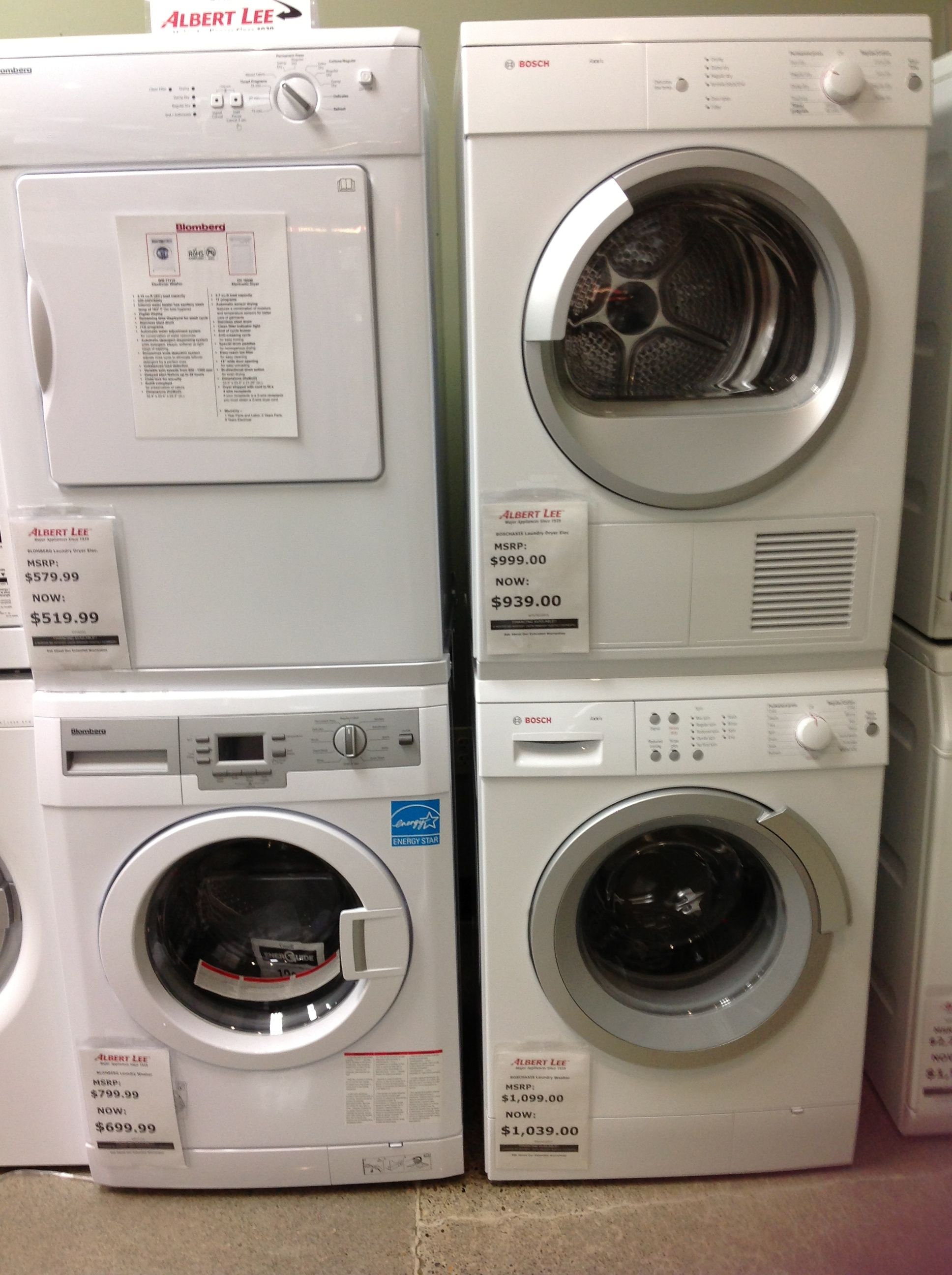 Small Stackable Blomberg Washer & Dryer