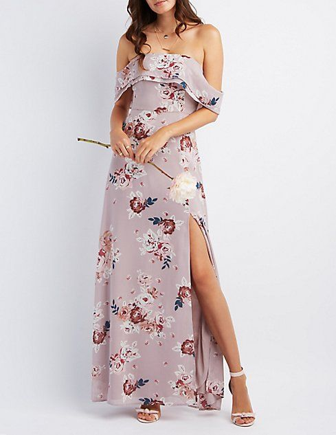 a9272aa56b Floral Off-the-Shoulder Front Slit Maxi Dress
