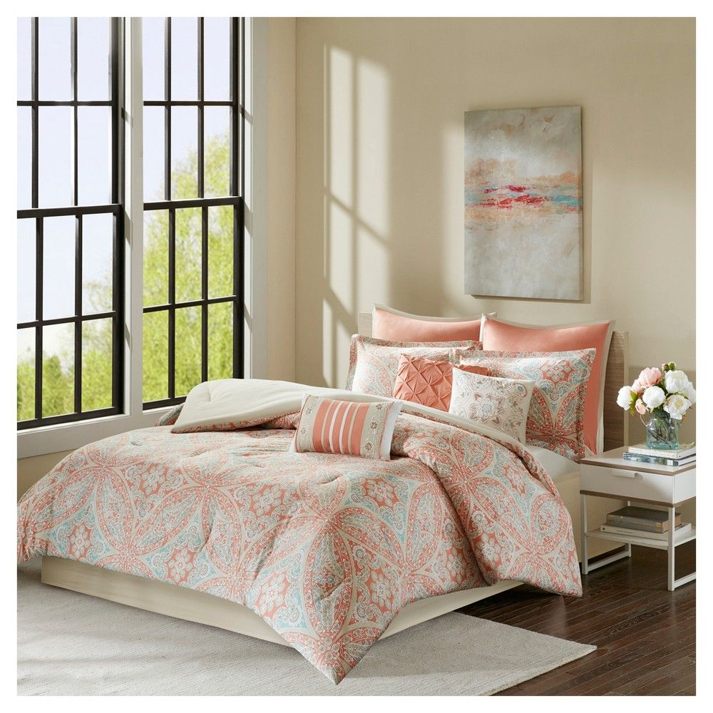 Coral jessie cotton comforter set queen pc pink pink