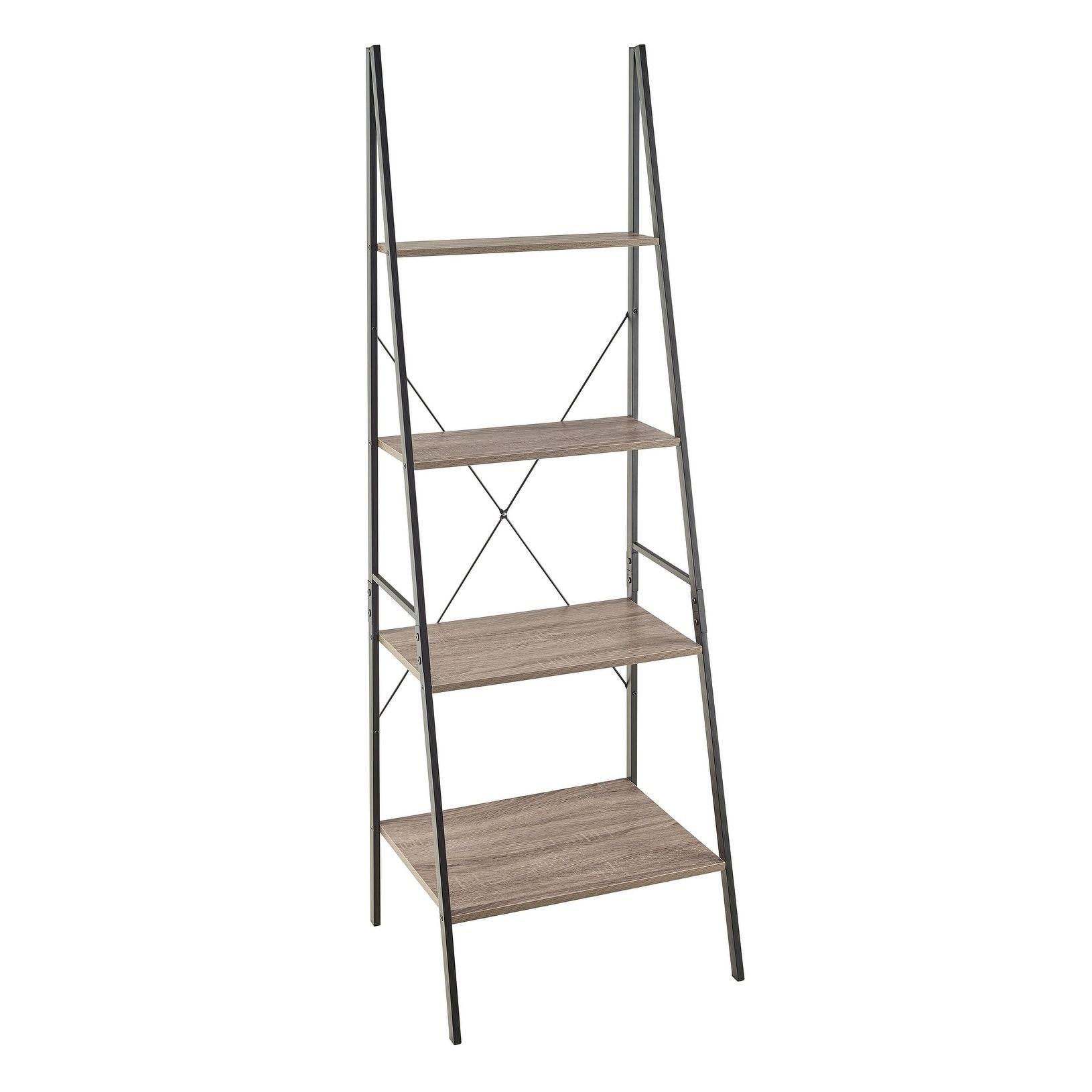 Carbon Loft Morse Industrial Ladder Bookshelf Brown Grey