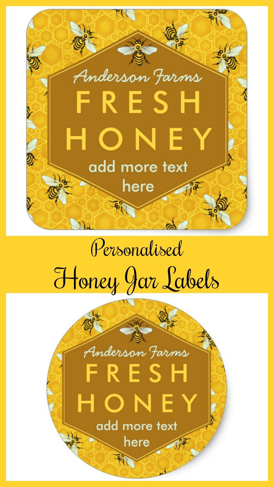 Personalised honey jar label bees and honeycomb ideal for small
