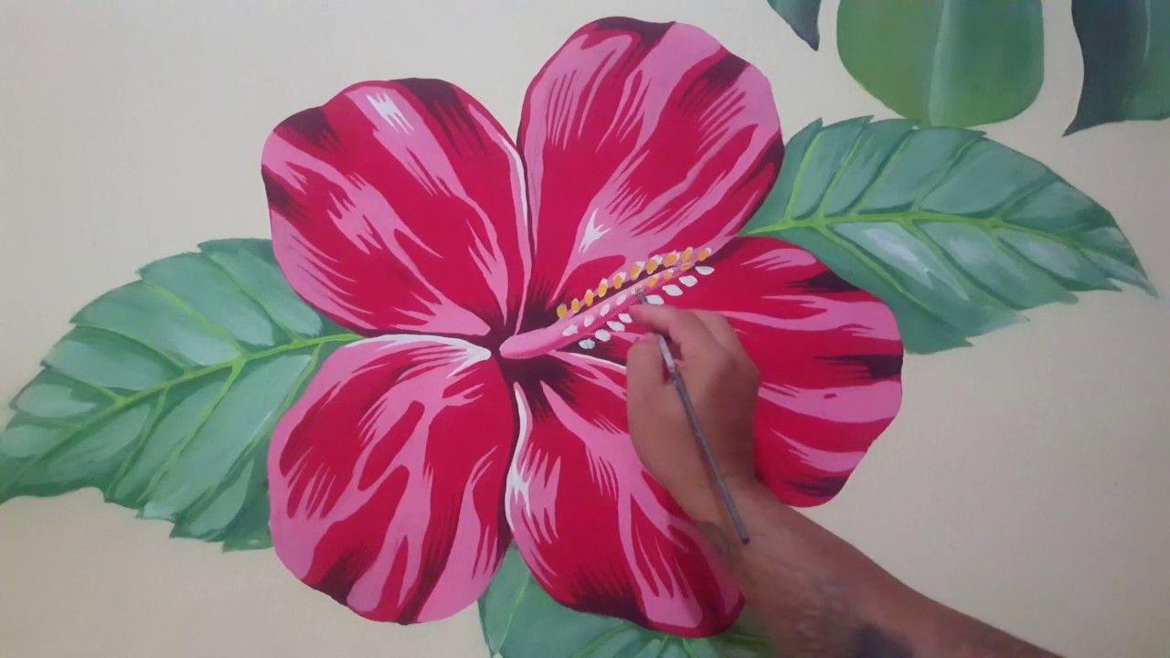 Cara Mudah Melukis Bunga Sepatu Tutorial Painting Hibiscus Flower Hibiscus Flowers Hibiscus Flowers