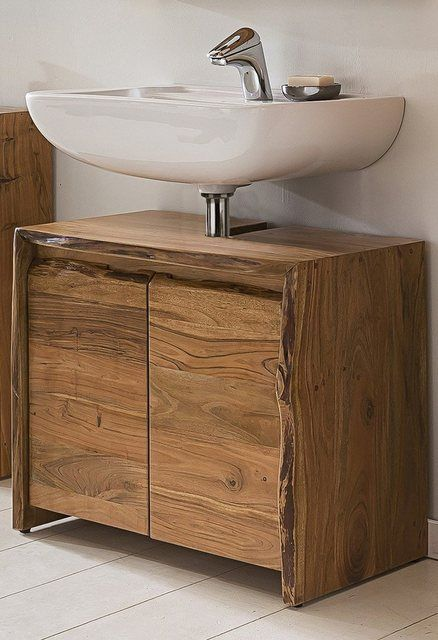 Badezimmer Waschbecken Unterschrank Akazie Massiv Holz Live Edge In 2020 Badezimmer Unterschrank Holz Badezimmer Waschbecken Und Badezimmer Unterschrank