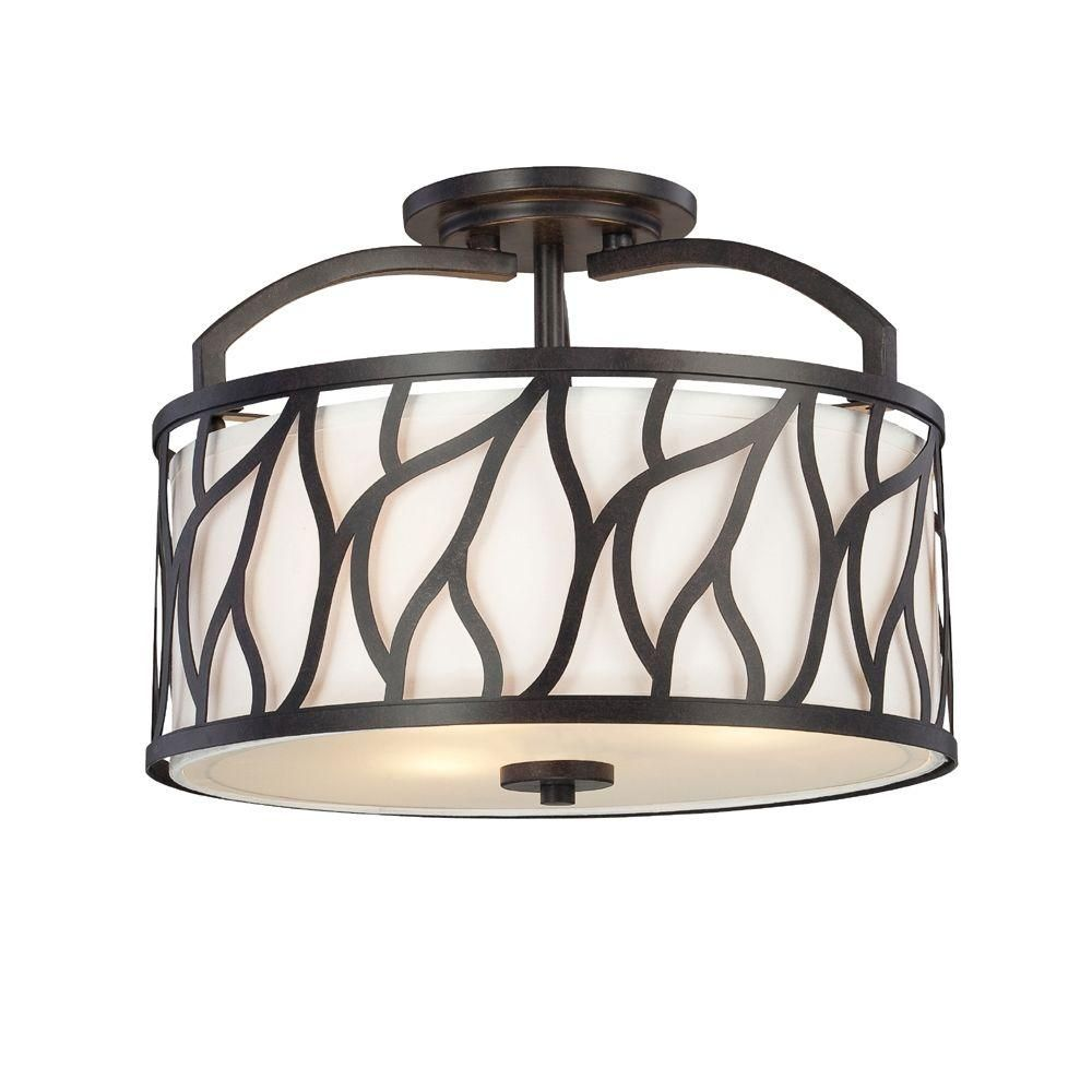 Fountain Modesto 3-Light Artisan Interior Incandescent Semi Flush Mount