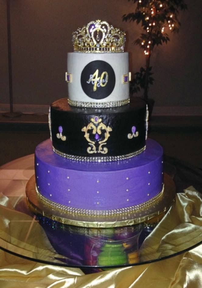 Purple Gold And Black Royal Birthday Cake Moms 50th 40th Cakes