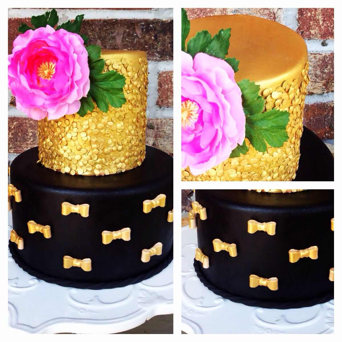 Gorgeous black and gold sequins cake. https://m.facebook.com/TheSweetestThingsCakeShoppe