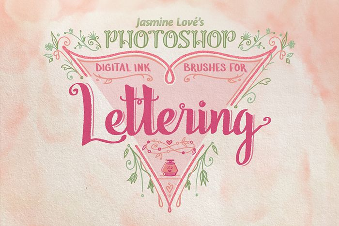 Digital ink lettering brushes for photoshop and adobe sketch app