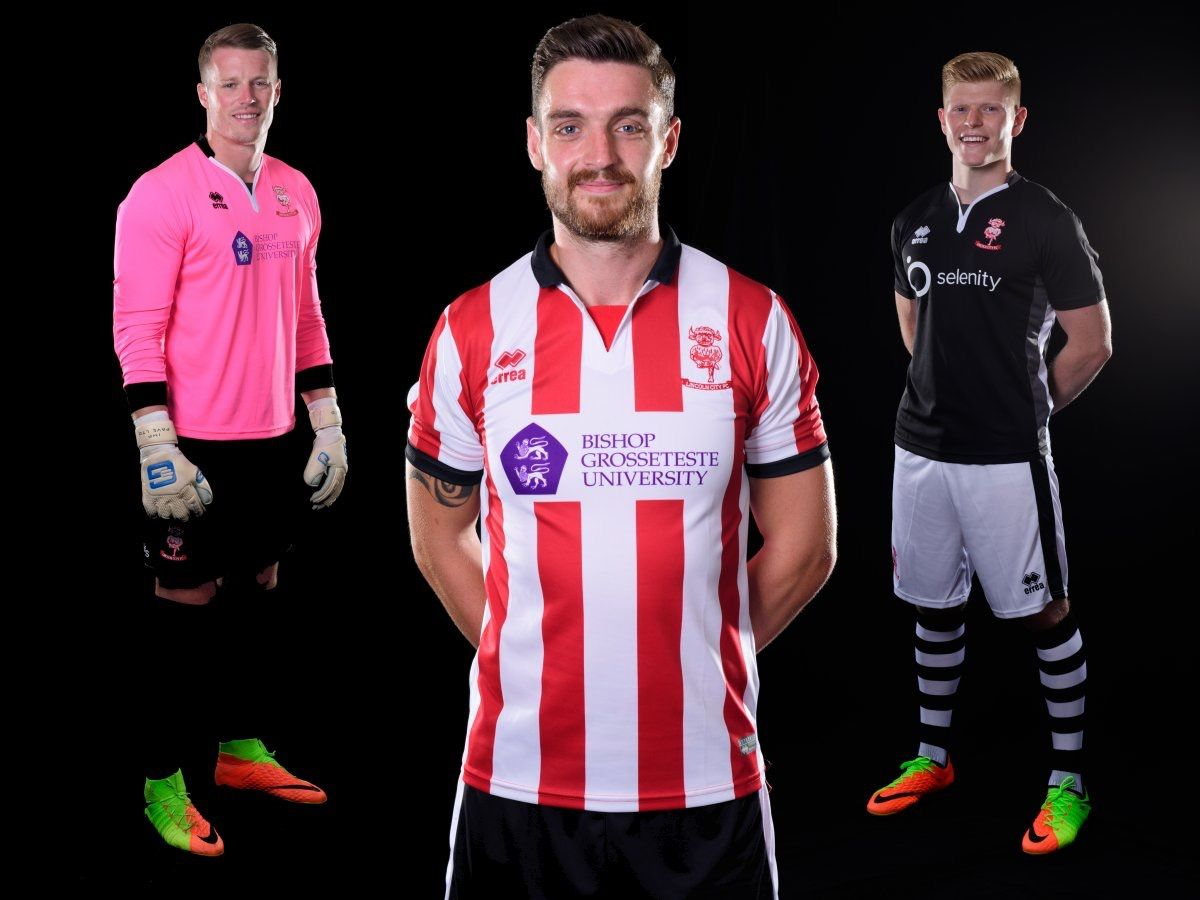 a5a84e00ab0 Lincoln City 2017/2018 Home (Red & White), Away (Black) and GK (Pink ...
