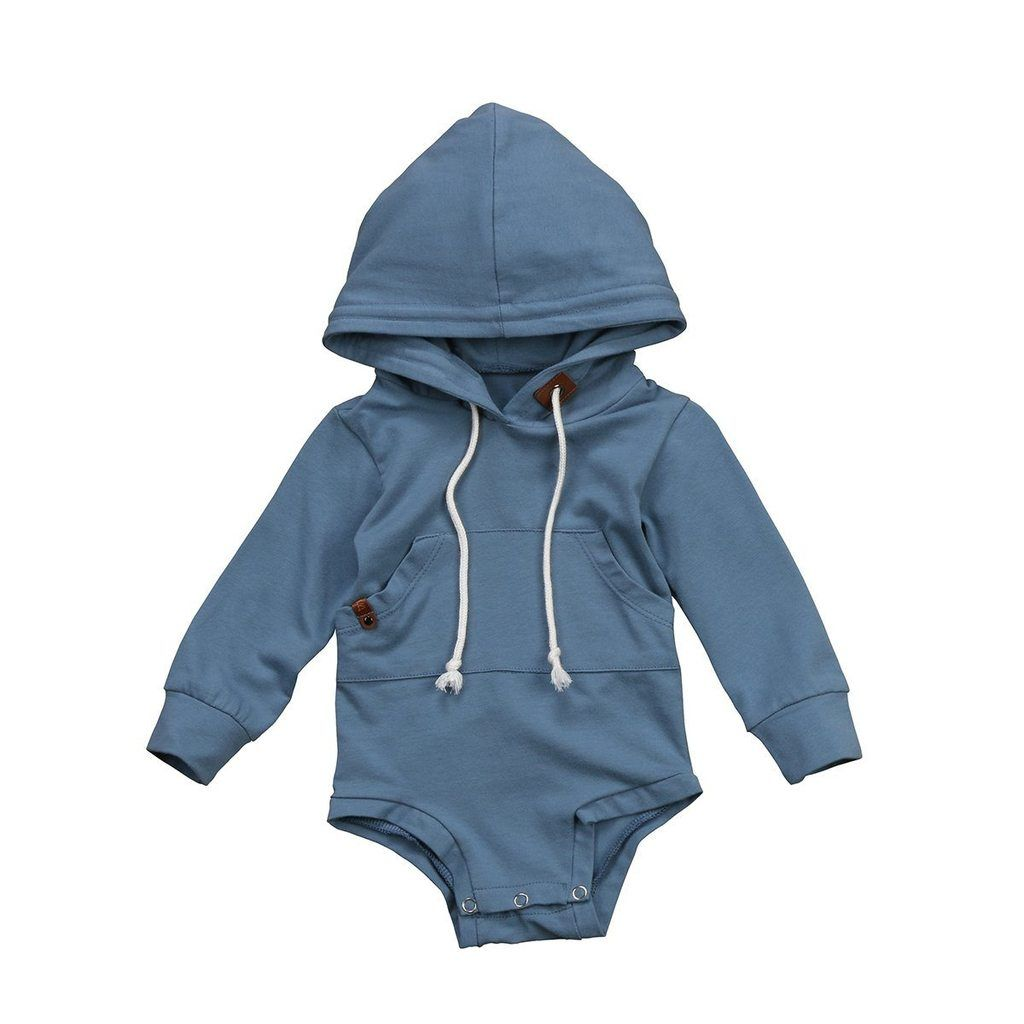 Lance hooded onesie Long sleeve Snaps on bottom for easy changing