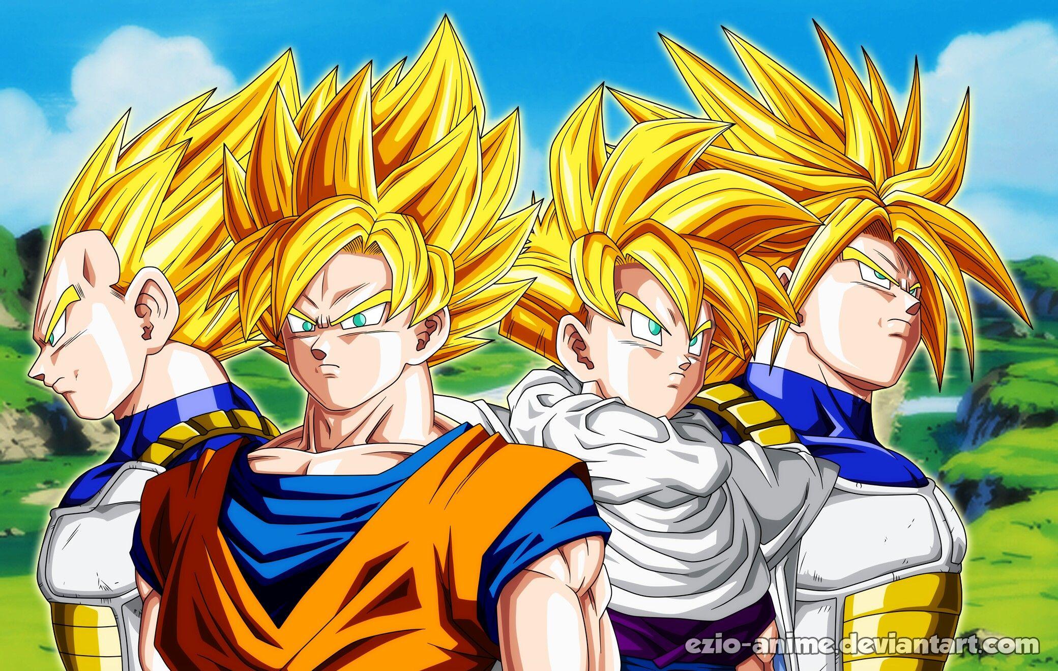 Goku, Gohan, Vegeta and Future Trunks - Cell games | Dragon Ball ...