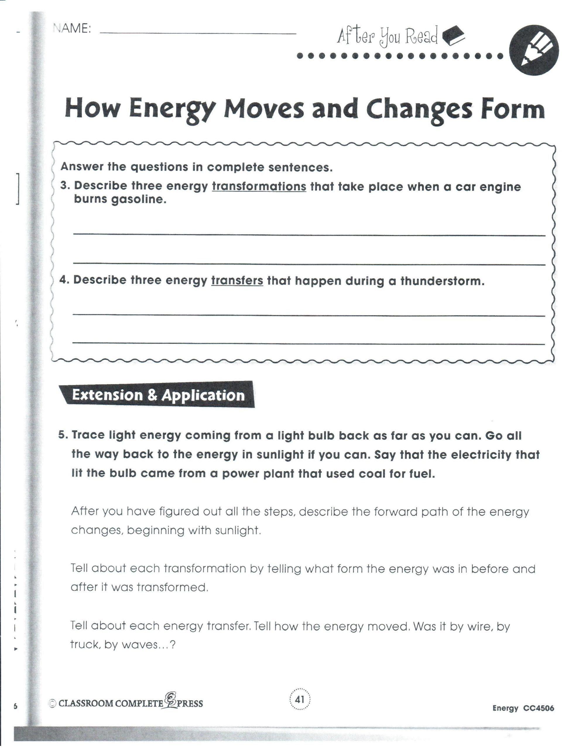 Energy transformation worksheet middle school linear