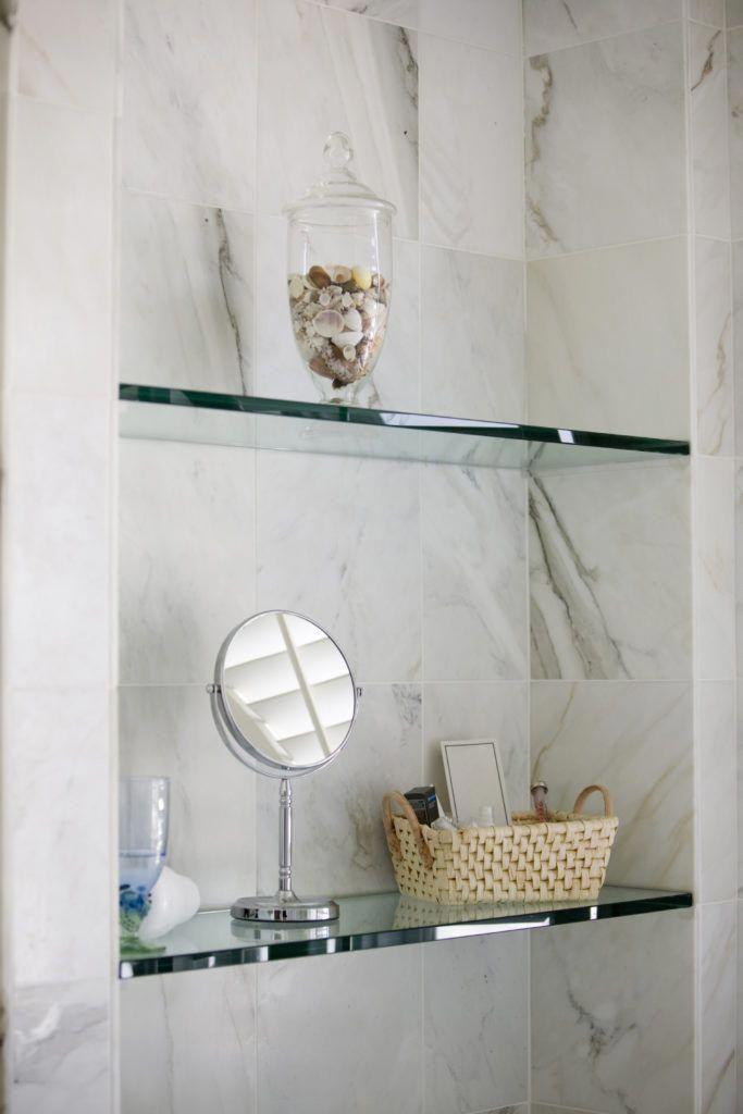 Home Organization with corner glass shower shelves, over