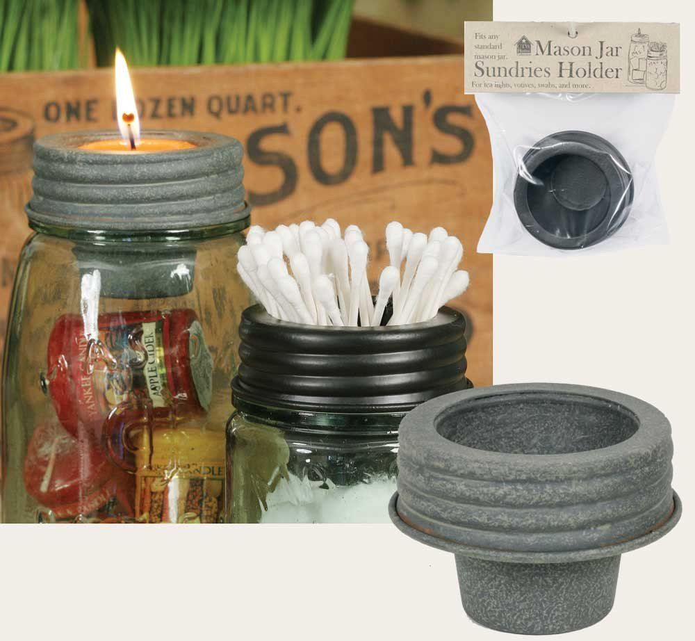 Tapered Cup Lid Barn Roof Tin Mason Jar Accessory Votives Home Kitchen Bath  Use this lid for Q-Tips, votives, tea lights, or many other small items.
