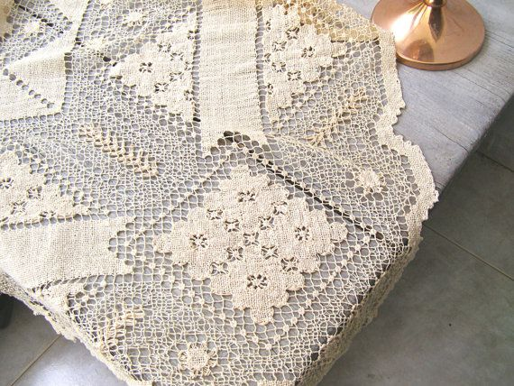 Antique Lace Tablecloth Handmade Lace Mondano Netting by MeshuMaSH
