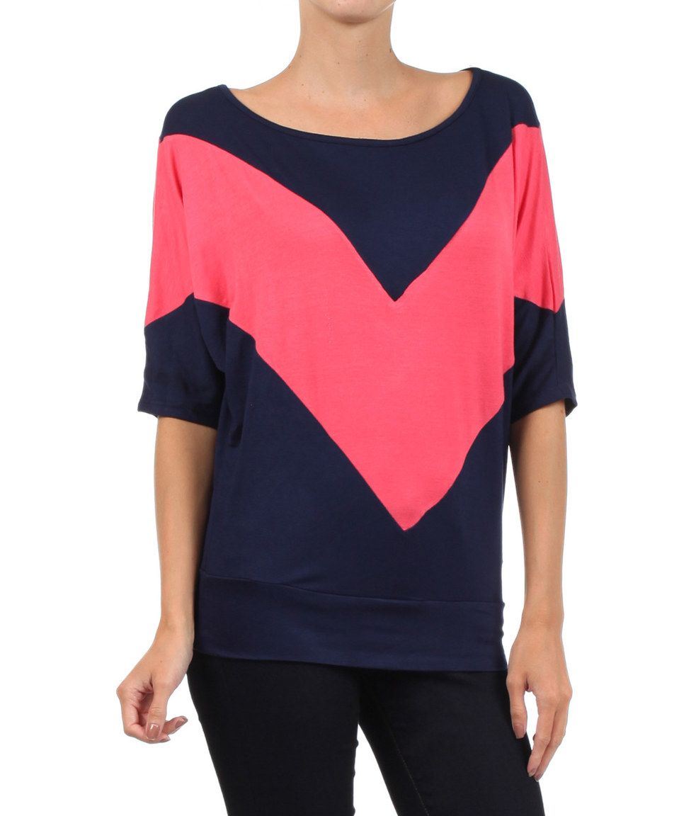 Look at this #zulilyfind! J-Mode USA Los Angeles Navy & Coral Chevron Top - Women by J-Mode USA Los Angeles #zulilyfinds