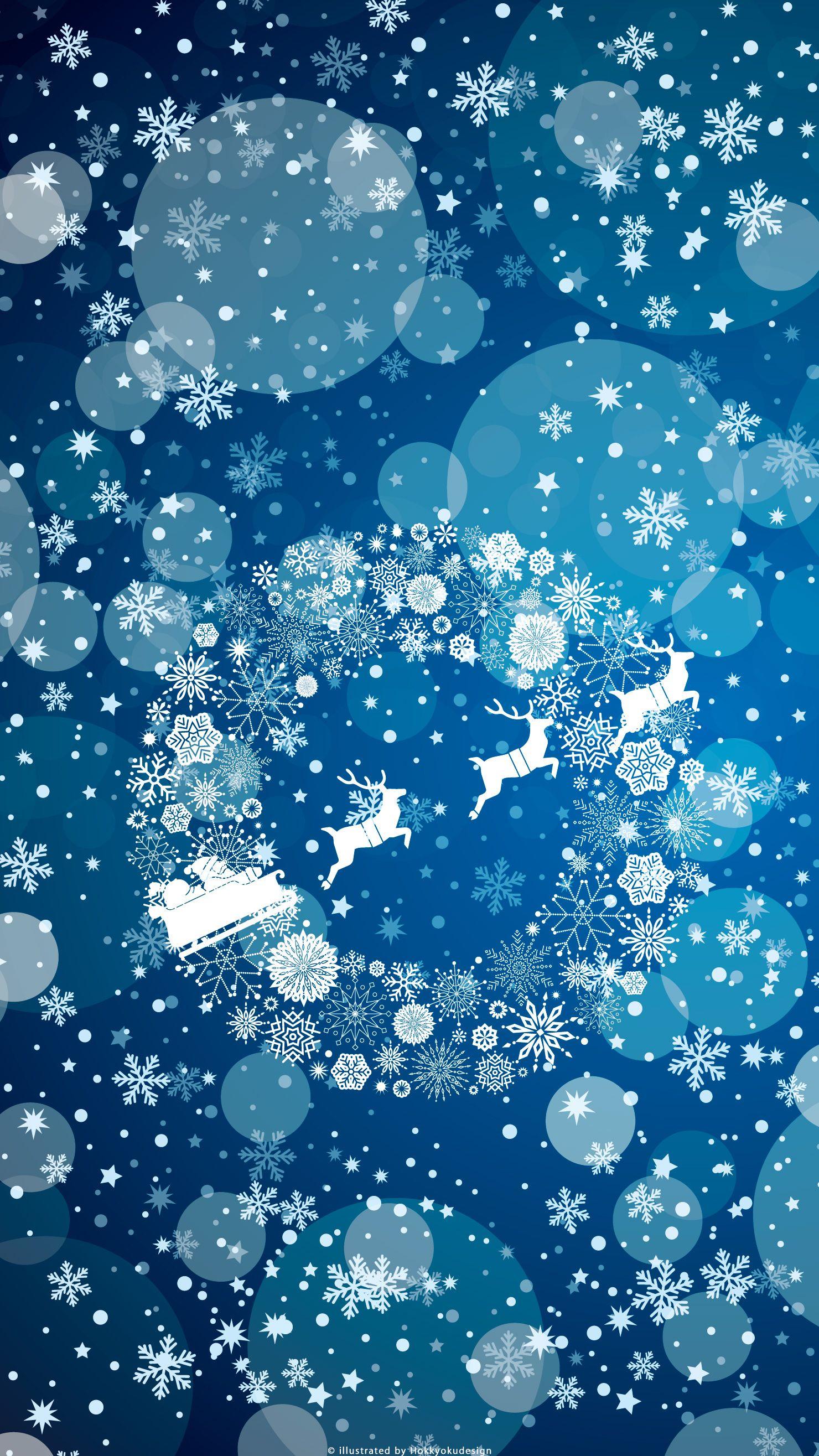 Fond Pour Mobile De Noel Traineau Du Pere Noel Avec Flocons Sur Fond Bleu Fond D Ecran De Noel Pour Iphone E Fond Ecran Noel Image Noel Deco Noel