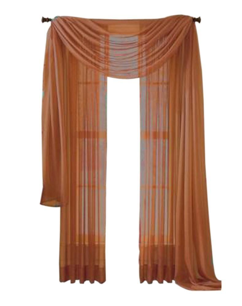Moshells Home Decorative 216 Sheer Curtain Scarf Rust Sheer