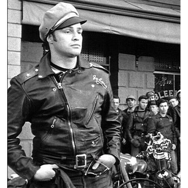 Classic Marlon Brando Biker Leather Jacket  ba133d9e86d0