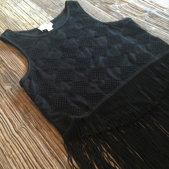"""LA Hearts Fringe Tank Top Black tank with textured fabric and bottom fringe. Back is about 2"""" longer than front. Bought from PacSun. There's two threads of fringe missing from the front. Please see last picture. No trades. LA Hearts Tops Tank Tops"""