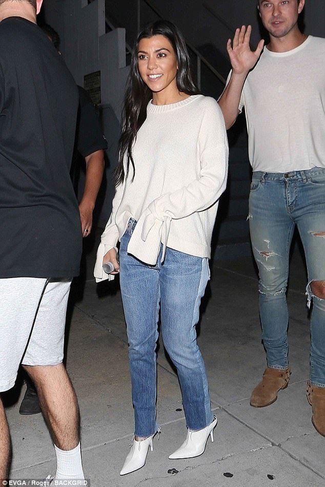03a0be3552faf Kourtney Kardashian beams at evening Hillsong church service in LA ...