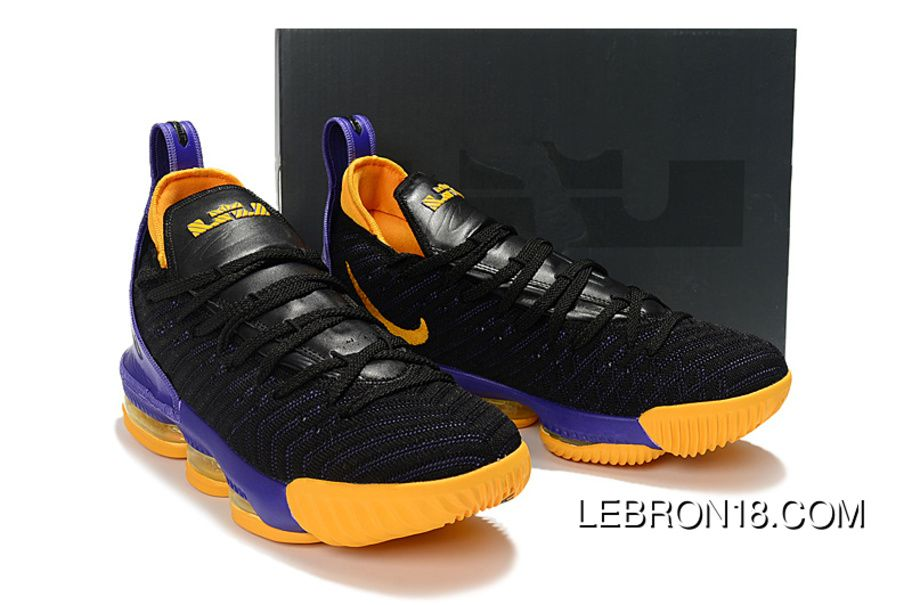 watch 38b9b b2e15 Nike LeBron 16 Purple Black Yellow Women Men Battle Shoes ...