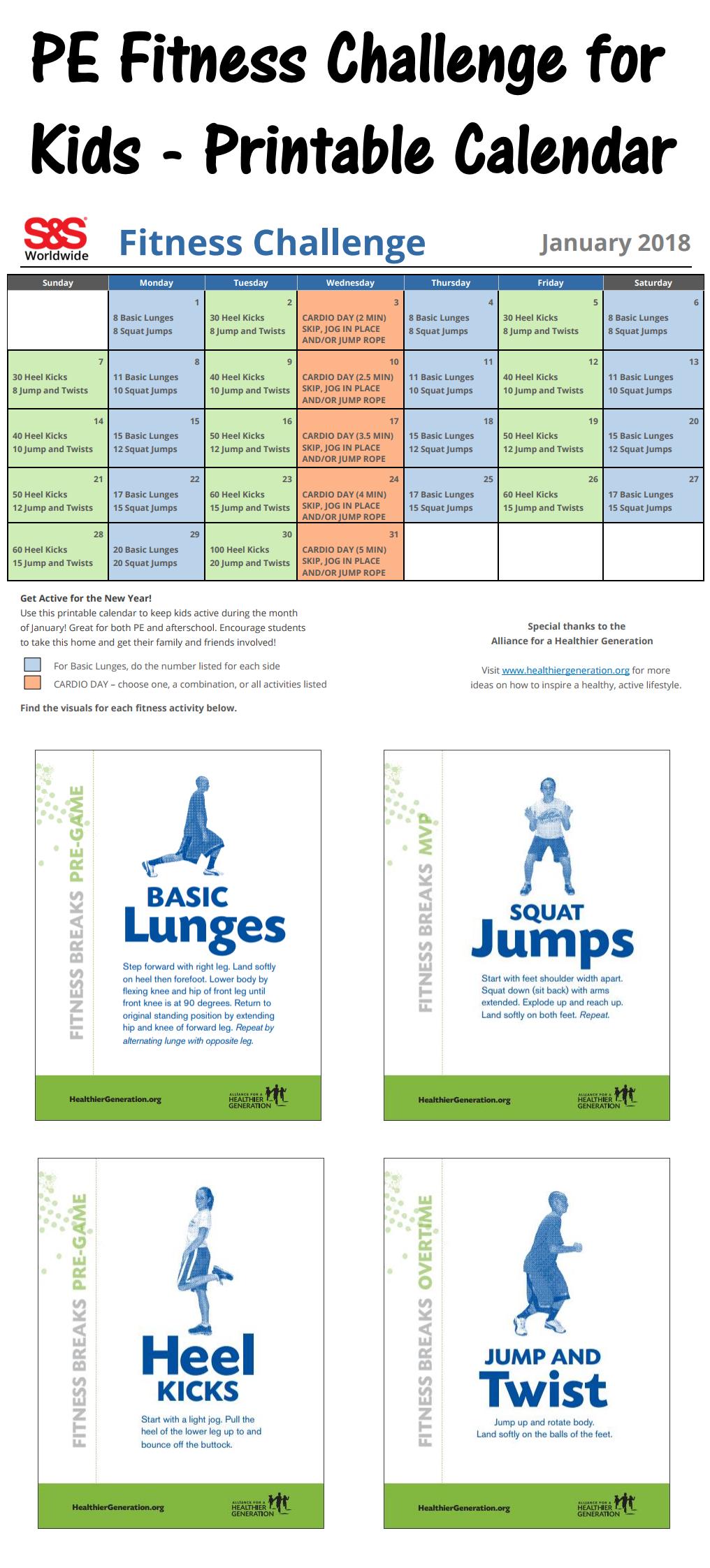 Fun Fit Calendario.Printable Fitness Challenge Calendar For Kids Keeping