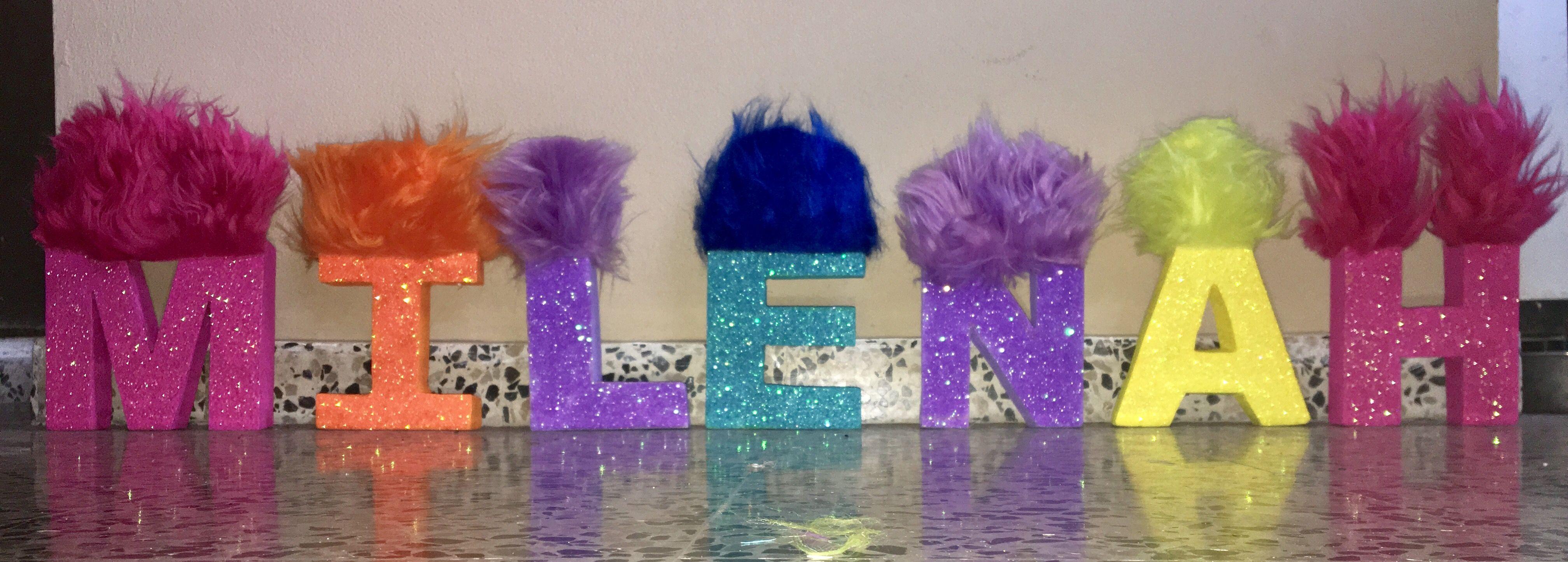 trolls inspired letters  kids room paint girls bedroom