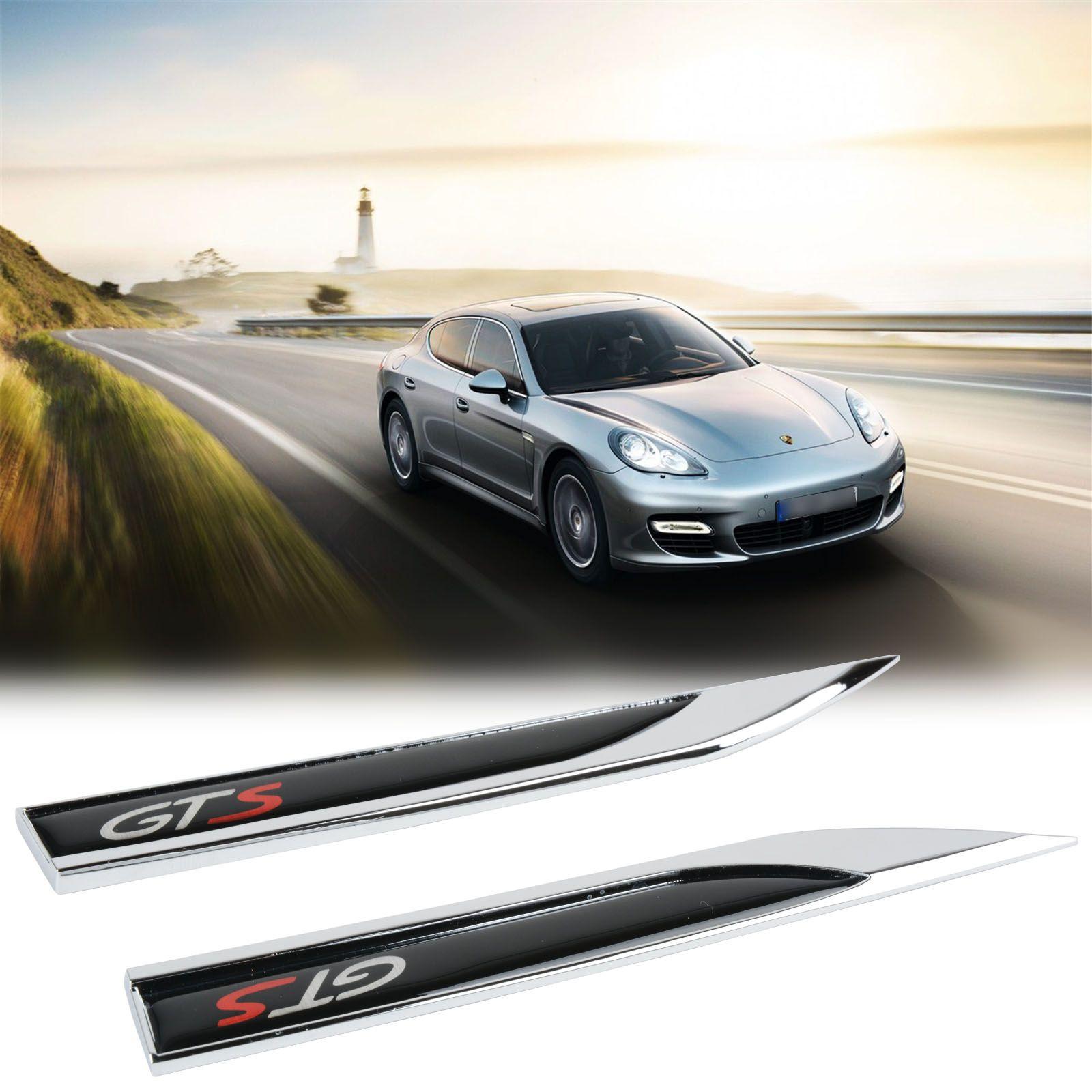2pcs Gts Metal Car Side Fender Skirt Emblem Badge Sticker Decal For Porsche