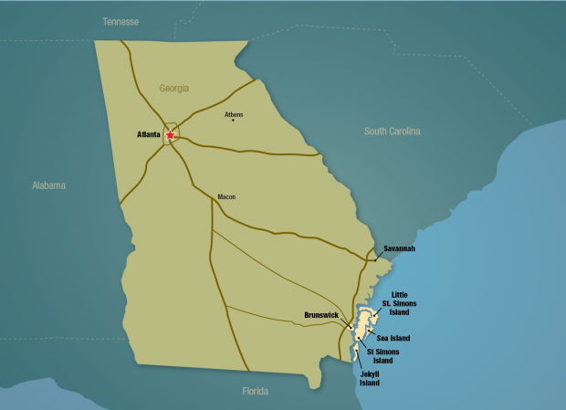 Map Of Georgia And Florida Coast.Nestled On The Georgia Coast Midway Between Savannah Ga And