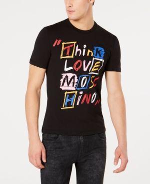Men S Think Love Graphic T Shirt In Black Moschino Black Shirt Graphic Tshirt