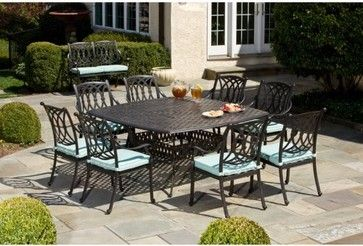 Alfresco Home Rimini Cast Aluminum 64 In Square Patio Dining Set Seats 8 Contemporary Outdoor Tables