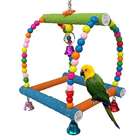 Large Bird Swing Toy For Parrot Macaw African Greys Budgies Cockatoo Parakeet Cockatiel Conure Lovebirds Finch Birdcage Perch Toy Paw Grinding Ladder
