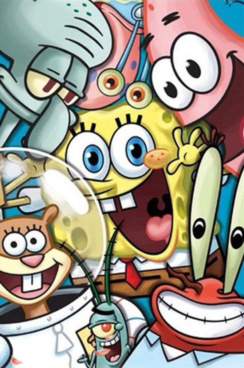 5D DIY Cartoon Diamond Painting Spongebob Drill Stick To Paint Home Decoration Painting