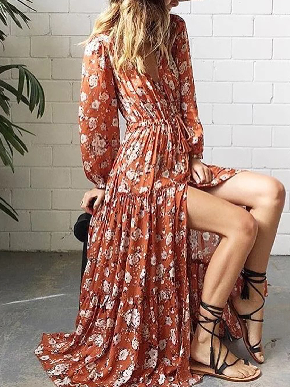 Polychrome floral tie waist split long sleeve maxi dress ii choies