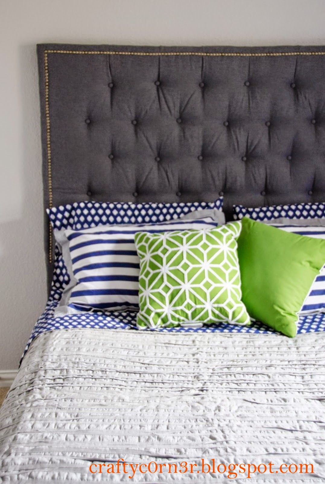 Nailhead Trimmed And Tufted Headboard With Images Leather Bed Headboard Nailhead Headboard Headboard