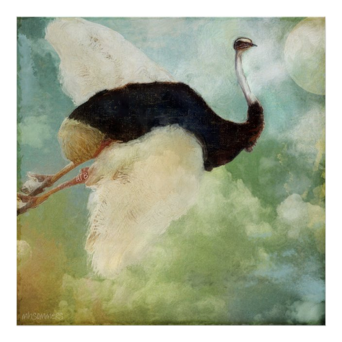 Anastasia S Flying Ostrich Poster Zazzle Com Bird Poster Poster Prints Ostrich