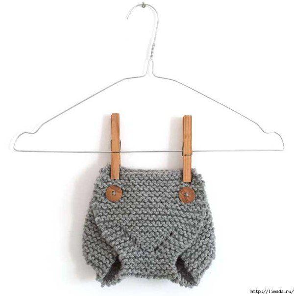 Вязанные штанишки спицами для малыша 0-3 месяца Очень мягкие, теплые ...