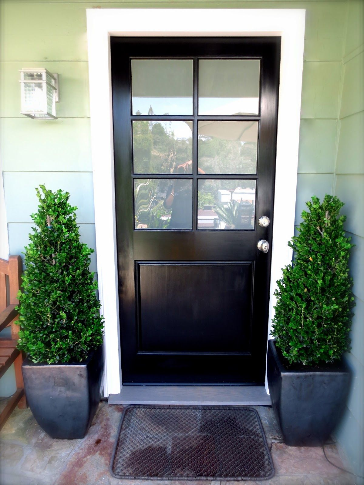 White front entry door - Amazing Black Wooden Single Half Modern Front Door With 6 Frosted Lite And Nickel Brushed Knob