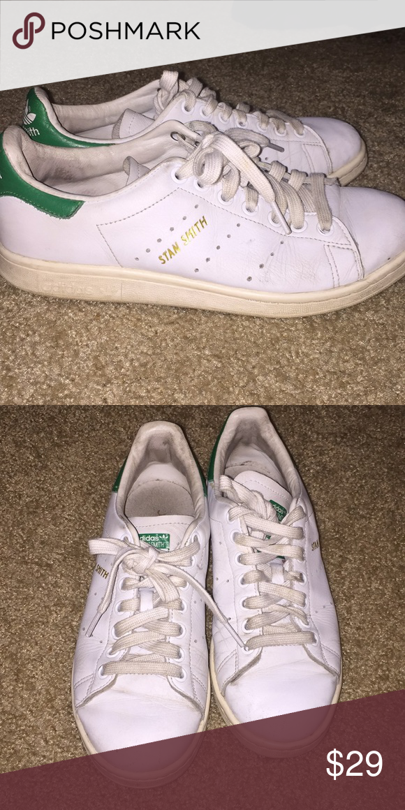 6bfed1168343 Stan smith adidas Classic Stan smith. These are well worn. Still have good  life left in them. Size 6 1 2 make good for 7 1 2 -8 women.