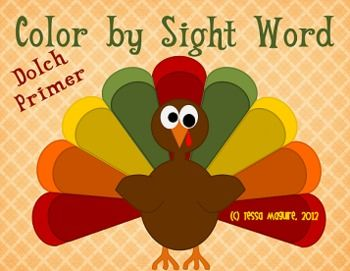 Dolch Word Color By Sight Word Turkeys Thanksgiving Sight Words
