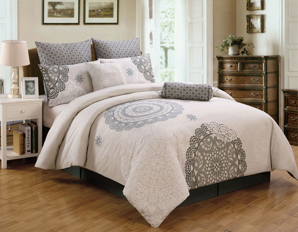 8 Piece Queen Antheia 100 Cotton Comforter Set bedroom