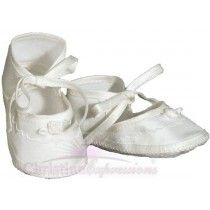 Girls Silk Dupioni Christening Shoe