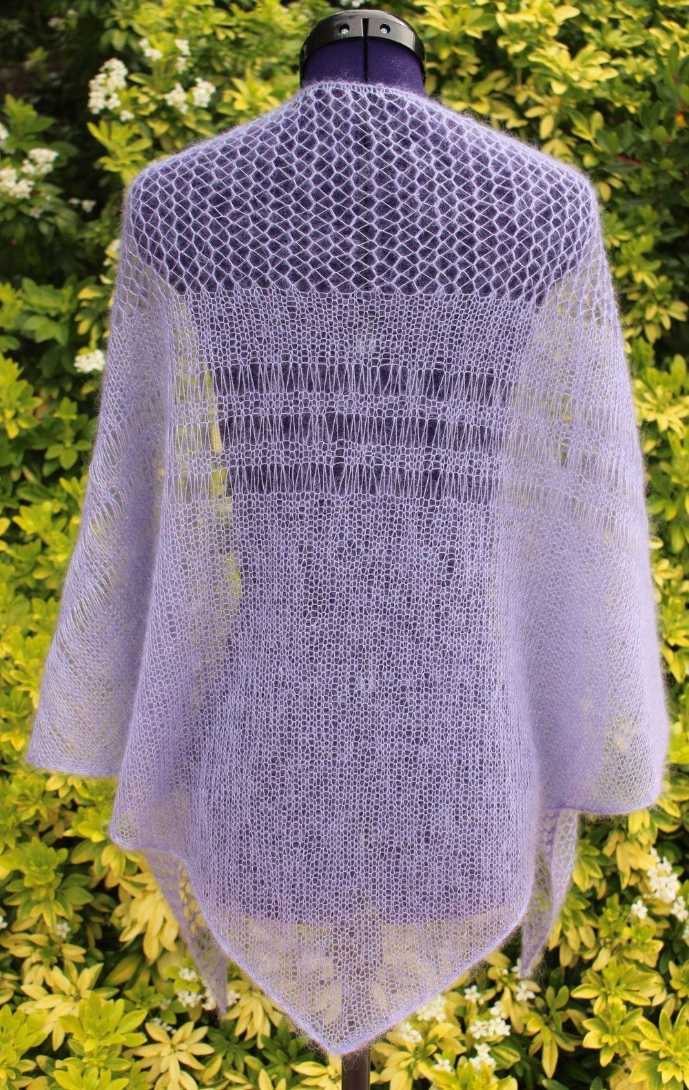 96d6a9ad7334 Châle tricoté main, étole en dentelle, chèche en mohair et soie avec points  ajourés, coloris mauve