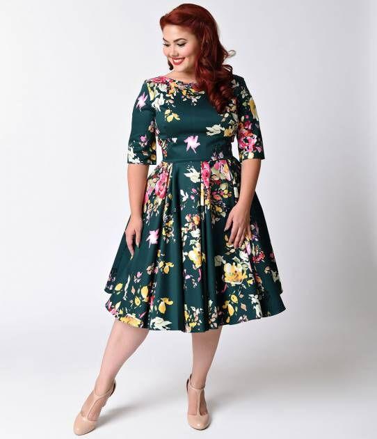 Plus Size Vintage Deep Green Seville Floral Half Sleeve Hepburn Swing Dress Vintage Dresses Dresses Pretty Dresses
