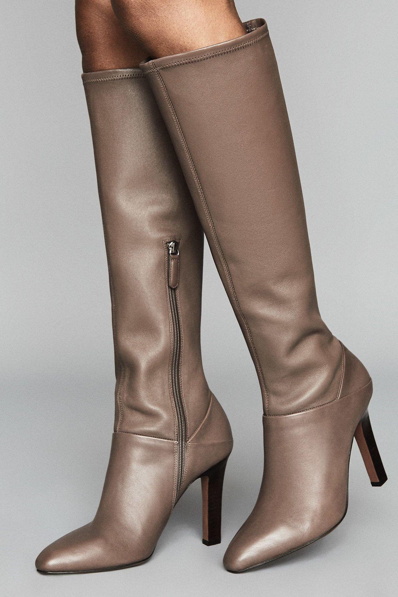 Cresida Caramel Leather Knee High Boots