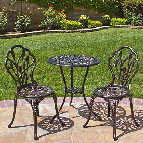 Bistro Patio Set Aluminum Antique Copper Tulip Decorative Table Chair Outdoor Bestchoiceproducts