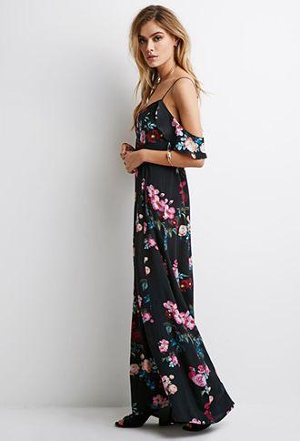02207ba418eb Mixed Floral Ruffle-Sleeve Maxi Dress | Forever 21 - 2049257849 ...