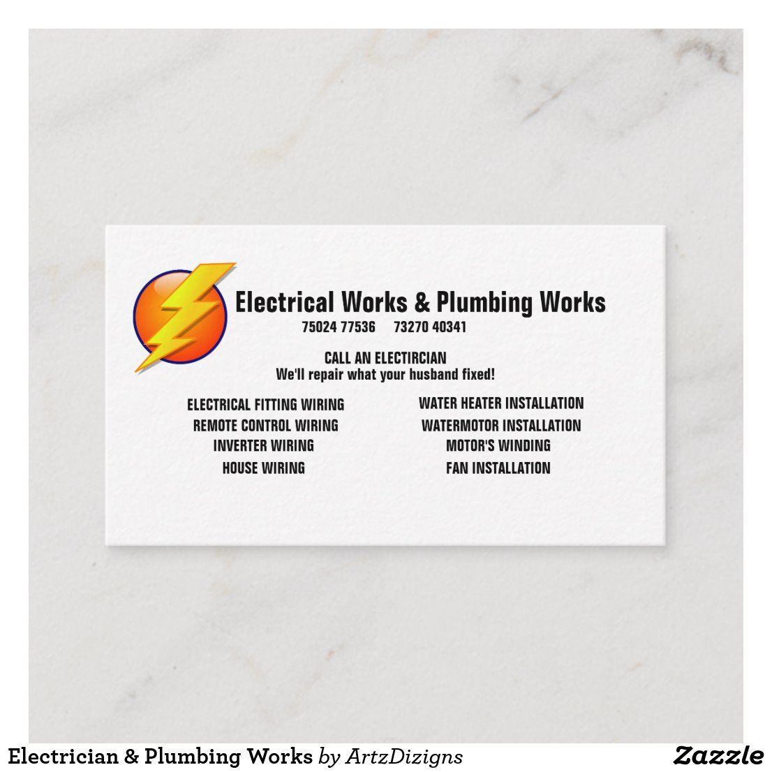Electrician Plumbing Works Business Card Zazzle Com In 2020 Business Pens Electrician Business Holiday Cards